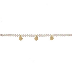 """Pale pink and opal beaded choker with gold tone circle accents. Approximately 12"""" in length."""