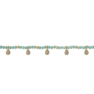 """Gold tone choker featuring mint green beads and clear rhinestone accents. Approximately 12"""" in length."""