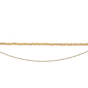 """Gold tone and peach beaded two layer choker. Approximately 12"""" in length."""