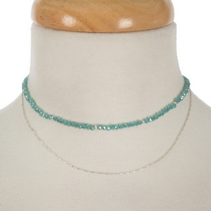 """Silver tone and turquoise beaded two layer choker. Approximately 12"""" in length."""
