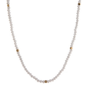 """Dainty gray and gold tone beaded necklace. Approximately 16"""" in length."""