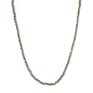 """Dainty turquoise and gold tone beaded necklace. Approximately 16"""" in length."""