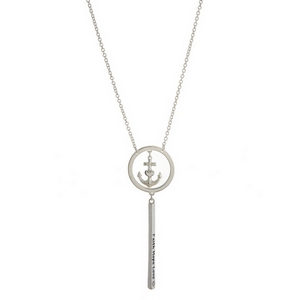 "Silver tone necklace with an anchor pendant and a bar pendant stamped with ""Faith, Hope, Love."""