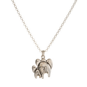 """Silver tone necklace set with a two elephant pendant. Approximately 16"""" in length."""