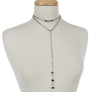 """Silver tone layered choker and 'Y' necklace. Approximately 12"""" and 14"""" in length."""