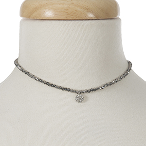 """Hematite beaded choker with a silver tone pave charm. Approximately 12"""" in length."""