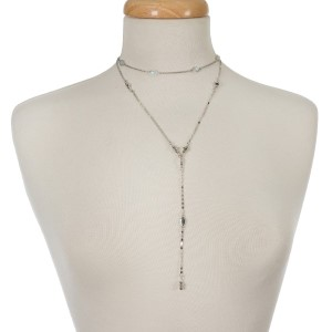 """Silver tone two layer necklace with a choker layer and a 'Y' layer. Approximately 12"""" and 18"""" in length."""