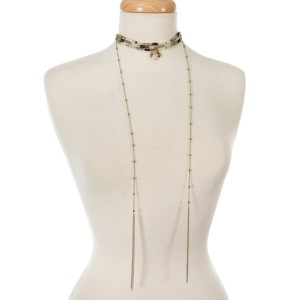 """Mint green, amazonite, and brown beaded choker with gold tone chains and tassels. Approximately 12"""" in length."""