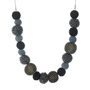 """Silver tone necklace with black thread wrapped ball beads and black beaded accents. Approximately 18"""" in length."""