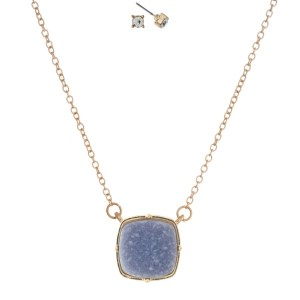 "Gold tone necklace set with a gray faux druzy stone pendant and matching stud earrings. Approximately 16"" in length."