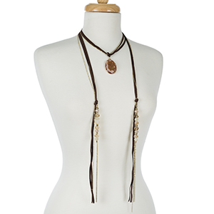 """Brown, faux suede wrap necklace with a neutral colored natural stone pendant. Adjustable up to 24"""" in length."""