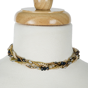 """Bronze and topaz beaded, braided choker. Approximately 12"""" in length."""