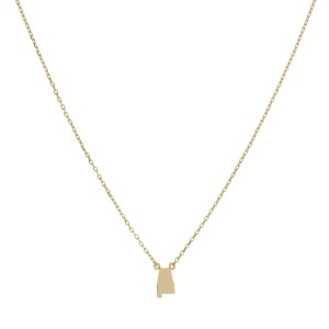 "Dainty gold tone necklace with a state of Alabama pendant. Approximately 16"" in length."