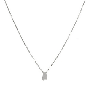 "Dainty silver tone necklace with a state of Alabama pendant. Approximately 16"" in length."