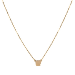 "Dainty gold tone necklace with a state of Arkansas pendant. Approximately 16"" in length."