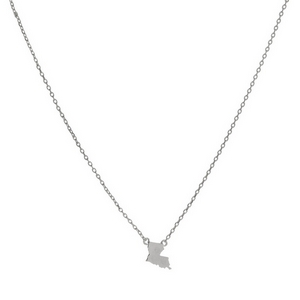 "Dainty silver tone necklace with a state of Louisiana pendant. Approximately 16"" in length."