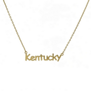 "Dainty gold tone necklace with a Kentucky pendant. Approximately 16"" in length."