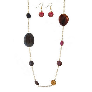 "Gold tone necklace with bright multicolored natural stones and matching fishhook earrings. Approximately 36"" in length."