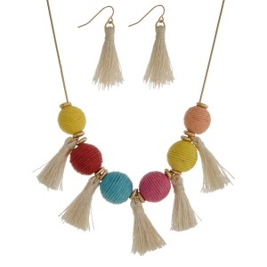 """Gold tone necklace set with multicolored thread wrapped balls and tassel accents. Approximately 16"""" in length."""