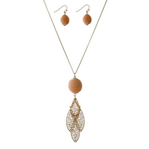 """Gold tone necklace set with a peach thread wrapped ball pendant, a layered filigree pendant and matching fishhook earrings. Approximately 30"""" in length."""