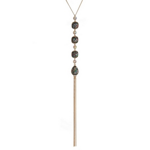 """Gold tone necklace with four multicolored glitter stones and a chain tassel. Approximately 22"""" in length."""