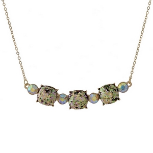 """Gold tone necklace with three olive green glitter squares. Approximately 16"""" in length."""