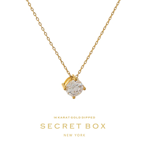 "Secret Box 14 karat gold dipped over brass necklace with a clear rhinestone pendant. Approximately 16"" in length."
