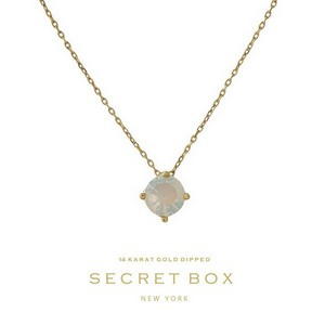 "Secret Box 14 karat gold dipped over brass necklace with an opal rhinestone pendant. Approximately 16"" in length."