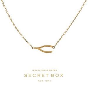 Secret Box 14 Karat Gold over brass wishbone pendant necklace. 16in length.