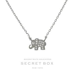 "Secret Box 24 Karat White Gold Dipped over brass elephant pendant necklace. 16"" in length. Pendant 10mm in length."