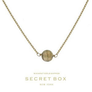 "Secret Box 14 karat gold dipped over brass necklace with a labradorite bead pendant. Approximately 16"" in length."