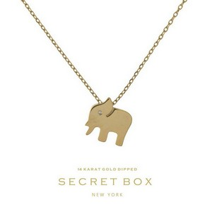 "Secret Box 14 Karat Gold over brass elephant pendant necklace. Approximately 16"" in length. Pendant size 13mm. Sold in gift box."