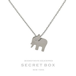 "Secret Box 24 Karat White Gold over brass elephant pendant necklace. Approximately 16"" in length. Pendant size 13mm. Sold in gift box."