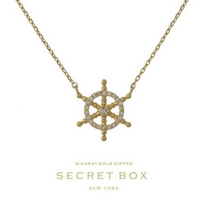 "Secret Box 14 Karat Gold over brass ship's wheel pendant necklace. Approximately 16"" in length. Pendant size 15mm. Sold in gift box."
