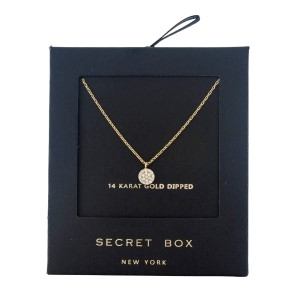 "Secret Box 14 Karat Gold Dipped over brass circle pendant necklace. 16"" in length."