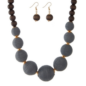 """Gray thread wrapped and brown wooden beaded necklace set with matching fishhook earrings. Approximately 18"""" in length."""