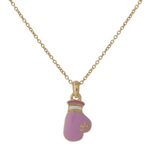 "Gold tone necklace with a pink boxing glove pendant. Approximately 16"" in length."
