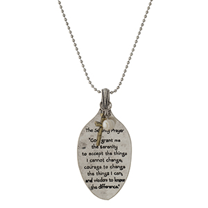 """Silver tone necklace with a spoon pendant, stamped with The Serenity Prayer.  Approximately 28"""" in length."""