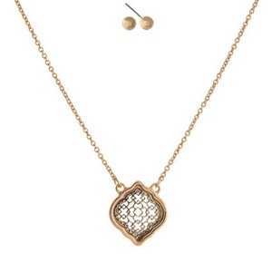 """Dainty gold tone necklace set with a filigree quatrefoil pendant and matching fishhook earrings. Approximately 16"""" in length."""
