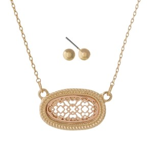 """Dainty necklace set with a two tone filigree oval pendant and matching stud earrings. Approximately 16"""" in length."""