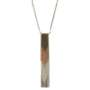 """Metal necklace with a tapered chain tassel pendant and bead accents. Approximately 28"""" in length."""