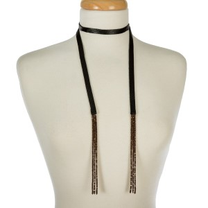 """Genuine leather wrap necklace with faceted beaded tassels on the ends. Approximately 48"""" in length."""