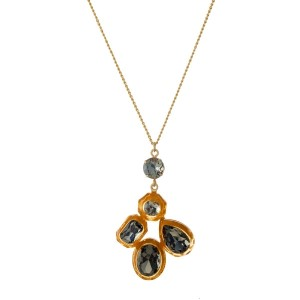 """Gold tone necklace with a rhinestone cluster pendant. Approximately 30"""" in length."""