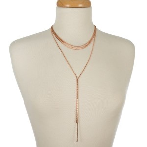 "Multi-layer, metal necklace with a long 'Y' layer. Approximately 14"" to 20"" in length."