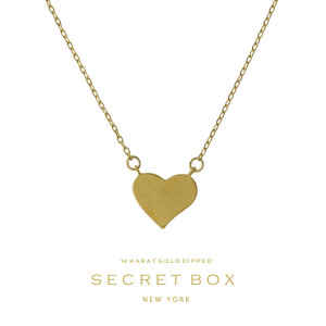 """Secret Box 14 karat gold over brass heart pendant necklace. Approximately 16"""" in length. Sold in gift box."""