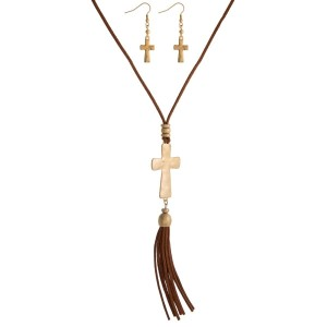 "Faux suede necklace set with a cross pendant, tassel pendant and matching fishhook earrings. Approximately 33"" in length."