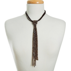 """Brown cord necklace with a gray and bronze beaded tassel. Approximately 14"""" in length."""