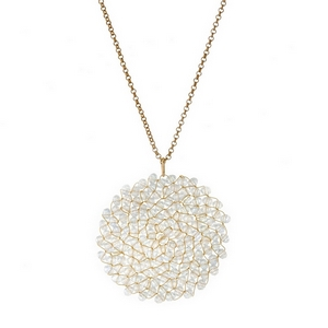 """Dainty, gold tone necklace with a beaded, circle shaped pendant. Approximately 32"""" in length."""