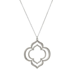 """Burnished metal necklace with a clover pendant. Approximately 32"""" in length."""