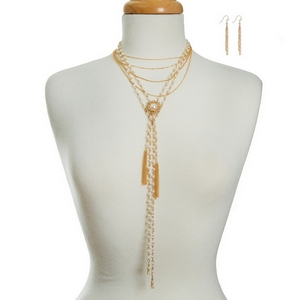"""Multi-layer, gold tone necklace set with pearl beads and matching fishhook, tassel earrings. Approximately 13"""" to 18"""" in length."""